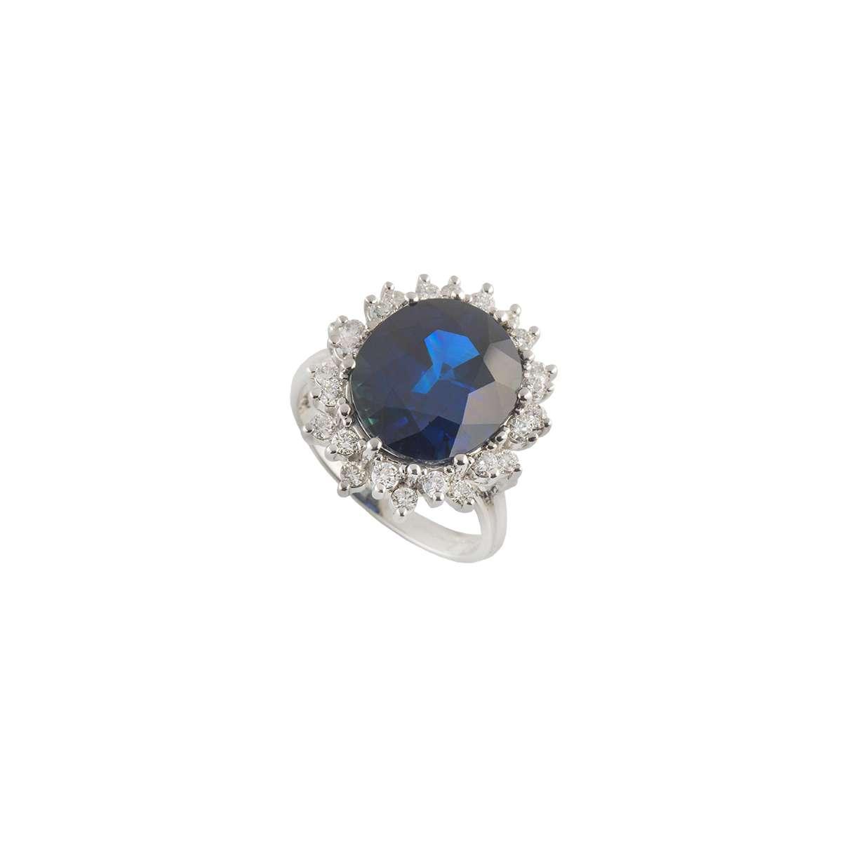14k White Gold Diamond and Sapphire Ring 0.80ct H/VS